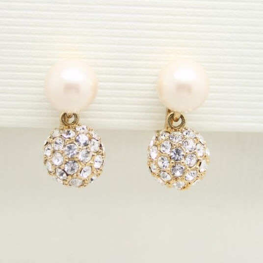 Vintage Monet Bridal Collection Pearl Crystal Drop Earrings