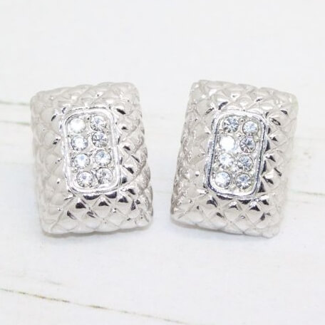 Vintage Monet Crystal Set Square Silver Earrings