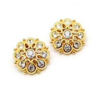 Vintage Round Gold Swarovski Crystal Set Bridal Clip On Earrings