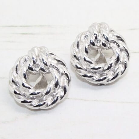 Vintage Signed Monet Silver Knot Earrings