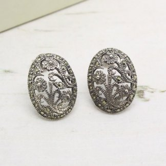 Vintage Sterling Silver Marcasite Filigree Oval Earrings