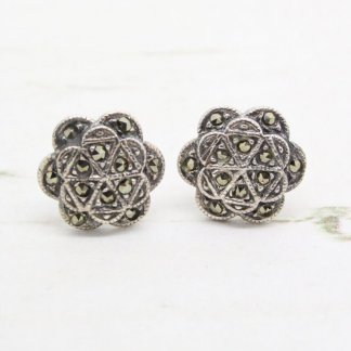 Vintage Style Sterling Silver Marcasite Flower Stud Earrings