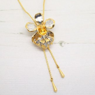 Risis Vintage 'Vanda Miss Joaquim' Orchid Slider Necklace (Gold and Palladium)
