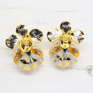 Risis Vintage 'Vanda Miss Joaquim' Orchid Earrings (Gold and Palladium)