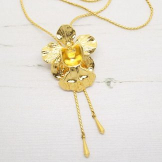 Risis Vintage 'Vanda Miss Joaquim' Orchid Slider Necklace (Gold)