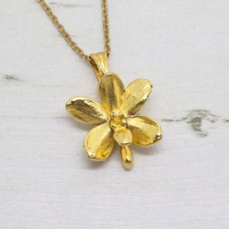 Risis Vintage Dainty Golden Orchid Necklace Pendent