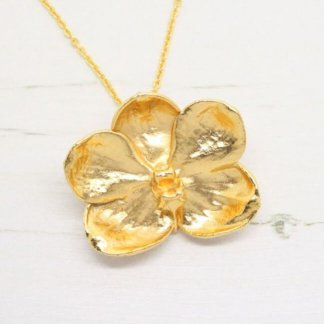 Risis Vintage Golden Orchid Brooch / Pendent