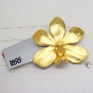 Risis Vintage Mokara Bi Bi Golden Orchid Brooch