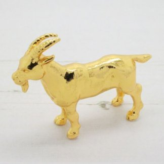 Signed Risis Chinese Zodiac Gold Goat Sculpture