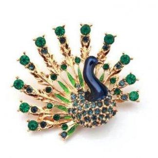 1960s Signed Vintage Sphinx Peacock Enamel & Crystal Brooch