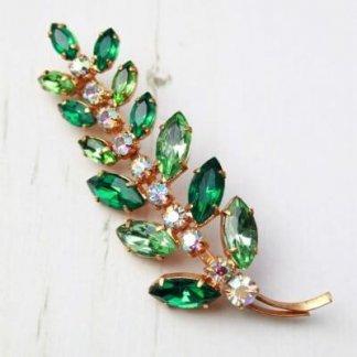 1960s Vintage Aurora Borealis Green Floral Rhinestone Leaf Brooch Pin