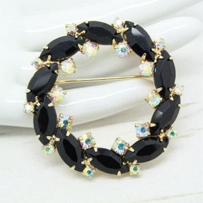 1960s Vintage Black and Aurora Borealis Crystal Circle Brooch