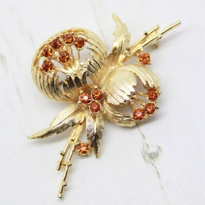 Exquisite Signed Peony Vintage Brooch