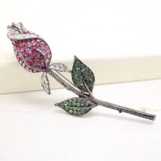 Kenneth Jay Lane Multi Pink Romantic Rose Flower Brooch