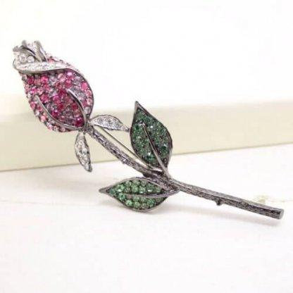 Kenneth Jay Lane Multi Pink Romantic Rose Flower Brooch