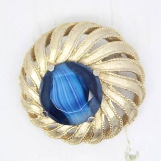 Large Signed Sphinx Blue Art Glass Brooch Pin
