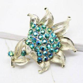Mid Century Jewelcraft Aqua Green Rhinestone Brooch