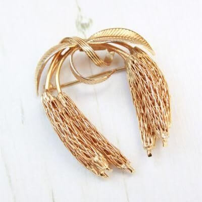 Signed Corocraft Vintage Gold Plated Wheat Brooch