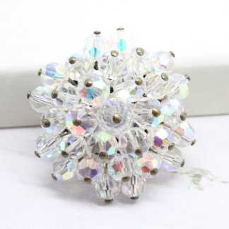 1950s White Aurora Borealis Beaded Cluster Brooch