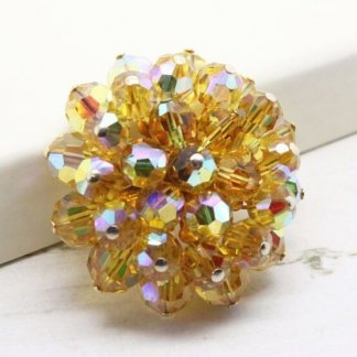 1950s Yellow Aurora Borealis Beaded Cluster Brooch