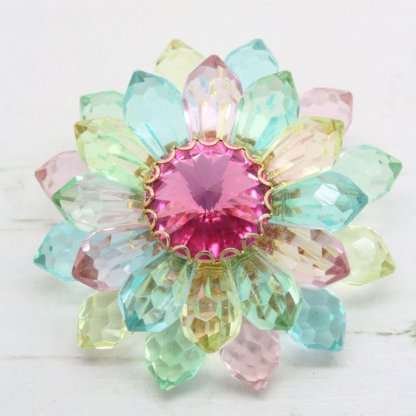1960s Pastel Faceted Lucite Flower Rivoli Brooch