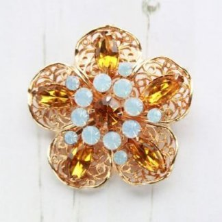 1960s Vintage Amber and Opalescent Rhinestone Filigree Flower Brooch