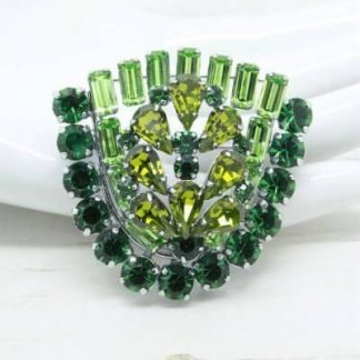 1960s Vintage Green Diamante Rhinestone Shield Statement Brooch