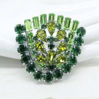 1960s Vintage Green Diamante Rhinestone Shield Statement Brooch