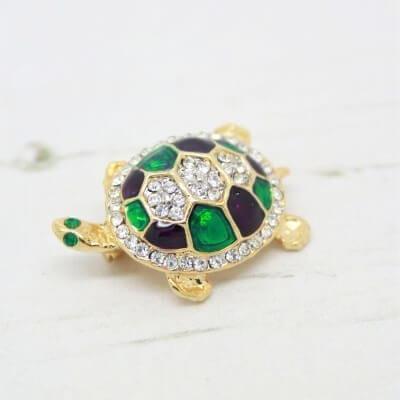1980s Vintage Austrian Crystal & Enamel Turtle Brooch