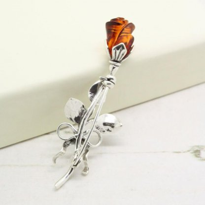 Amber Rose and Bow Sterling Silver Vintage Brooch