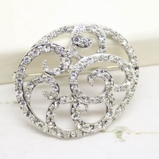 Beautiful Ornate Vintage Signed Monet Crystal Bridal Brooch