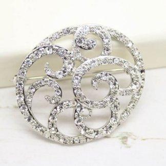 Beautiful Ornate Vintage Signed Monet Crystal Bridal Brooch