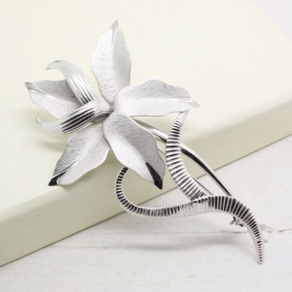 Bond Boyd Signed Sterling Silver Large Lily Flower Brooch