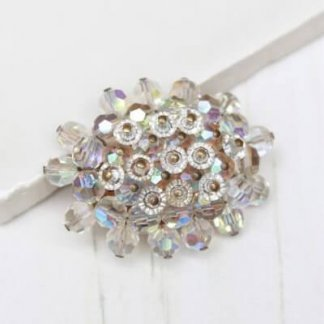 Crystal Cluster 1950s White Aurora Borealis Beaded Brooch