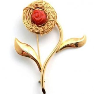 Designer Signed Gold Flower Coral Italian Brooch
