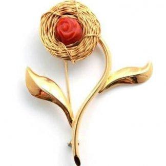 Designer Signed Gold Flower Coral Italian Brooch