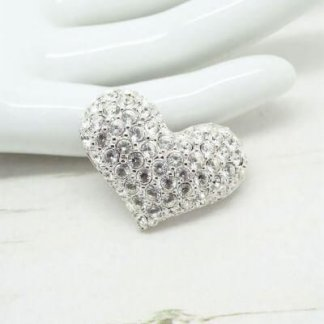 Designer Swarovski Rhodium Plated Crystal Heart Brooch