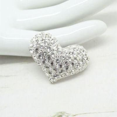 Designer Swarovski Rhodium Plated Crystal Heart Brooch
