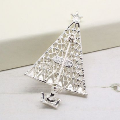 Eisenberg Ice Silver Sparkle Christmas Tree Brooch Pin