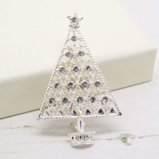 Eisenberg Ice Silver Sparkle Christmas Tree Brooch Pin