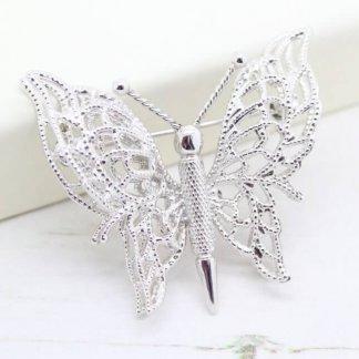 Filigree Butterfly Ornate Silver Double Wings Monet Brooch Pin