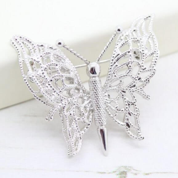 Filigree Butterfly Ornate Silver Double Wings Monet Brooch Pin