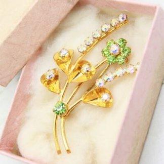 Floral 1950s Vintage Sparkle Brooch Boxed