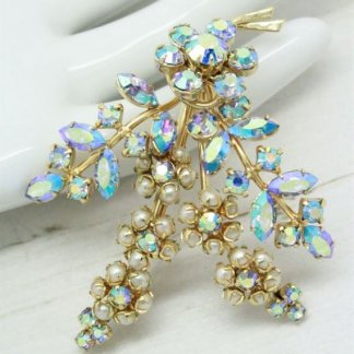 Floral Blue Rhinestone and Pearl 1950s Vintage Brooch Pin