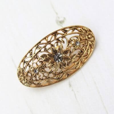 Floral Ornate Vintage Antique Gold Crystal Brooch