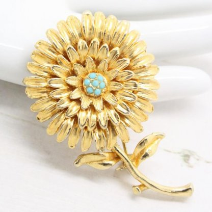Gold and Turquoise Hollywood Flower Brooch Pin