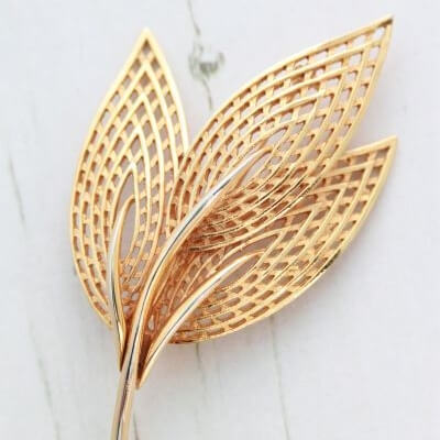 Large Vintage Corocraft Gold Leaf Brooch