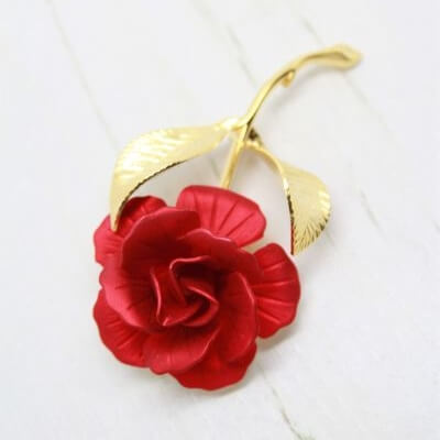 Signed Cerrito Vintage Floral Red Rose Valentines Day Brooch Pin