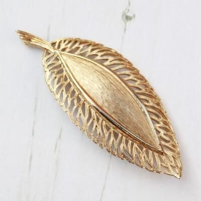 Signed Hollywood Statement Gold Plated Filigree Leaf Brooch