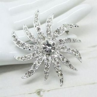 Silver Wedding Jewellery Vintage Crystal Starburst Snowflake Brooch Pin